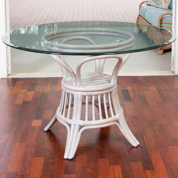 Universal Round Dining Table with round glass top in Rustic Driftwood