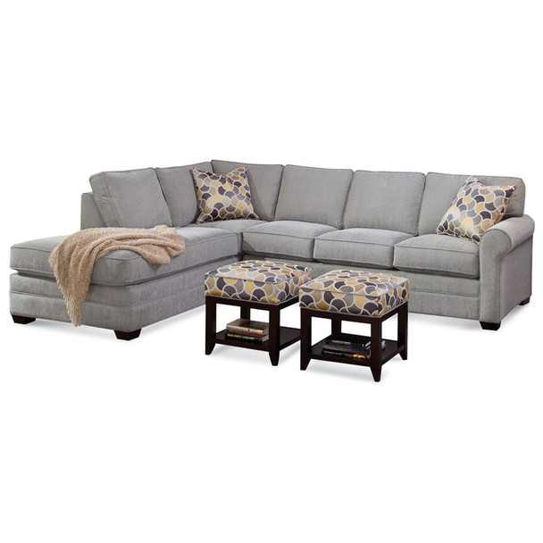 Bedford RSF Two-Piece Bumper Sectional Set in fabric 358-88 A and Java finish