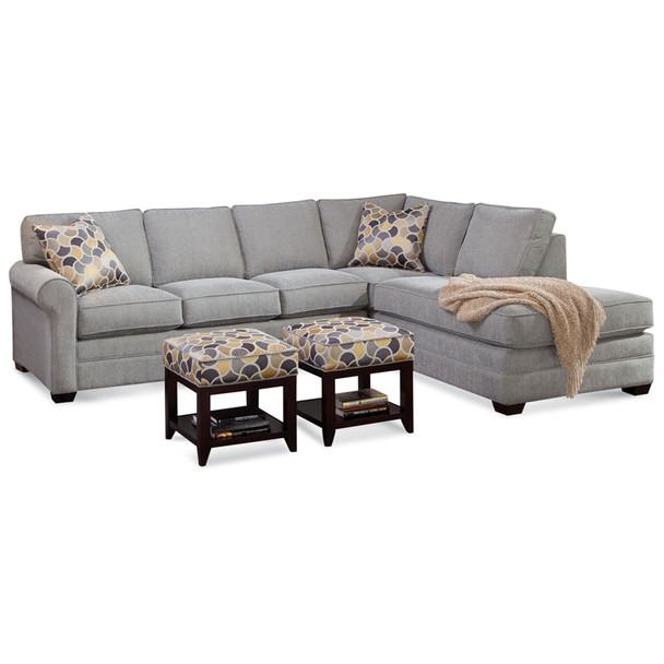 Bedford LSF Two-Piece Bumper Sectional Set in fabric 358-88 A and Java finish