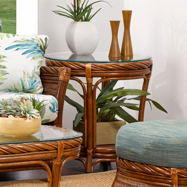 South Shore End Table with Glass Top from Classic Rattan