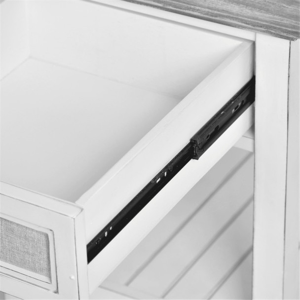 The drawer is constructed of solid wood with dovetail joints and use full-extension ball-bearing drawer glides