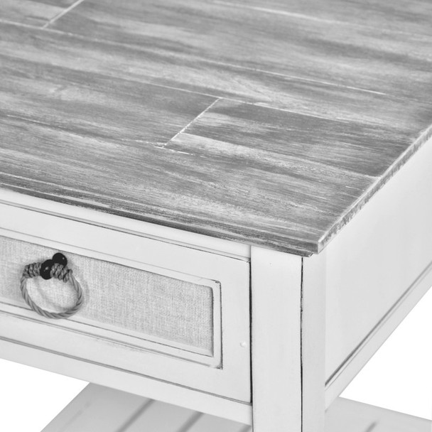 Close up of Captiva Island End Tablee in Gray Wash/Blanc finish