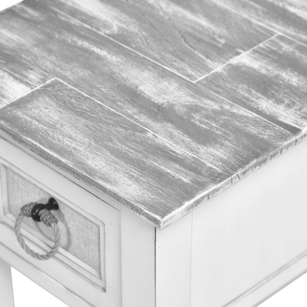 Close up of Captiva Island Chairside Table in Gray Wash/Blanc finish