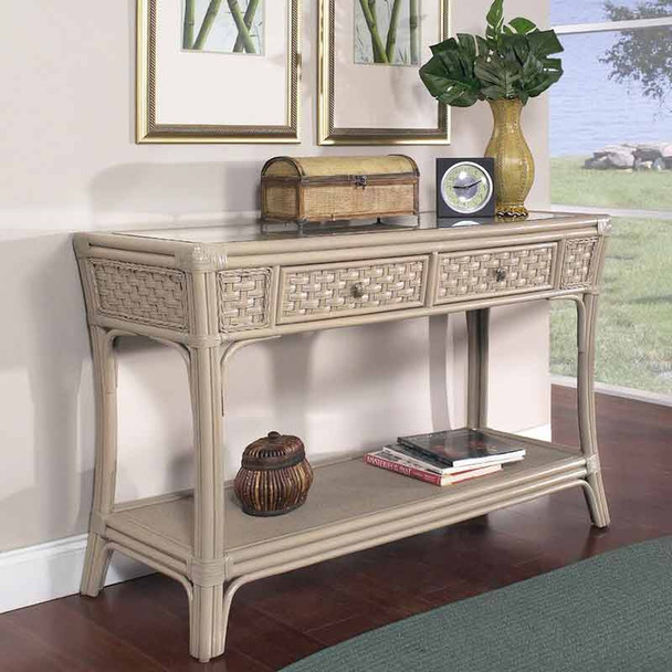 Riviera Console Table with Glass Top
