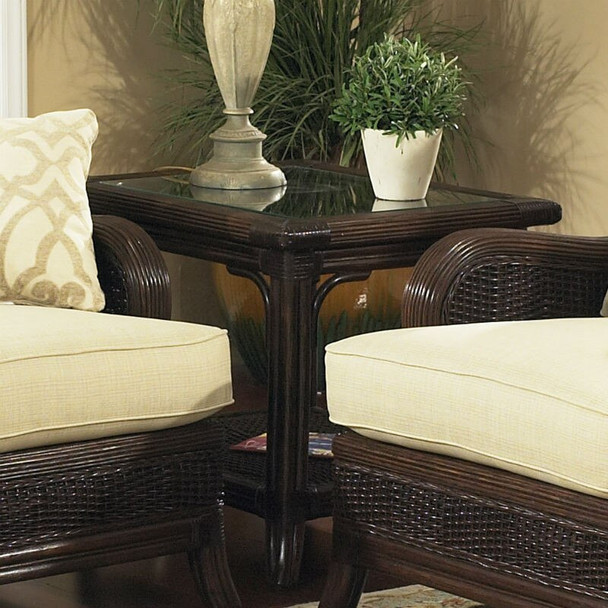 Windsor End Table with Glass Top