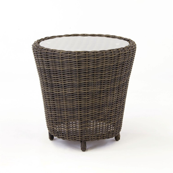 Barrington Outdoor End Table with Glass Top in Chestnut finish