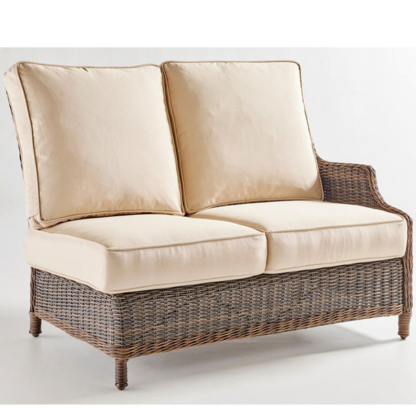 Barrington Outdoor One Arm Loveseat Right-Side Facing in Chestnut finish