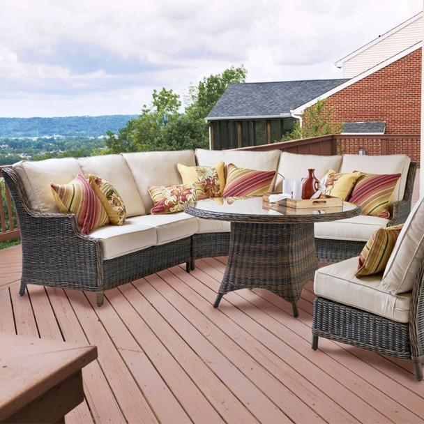 Barrington Outdoor Sectional 5 piece Set in Chestnut finish