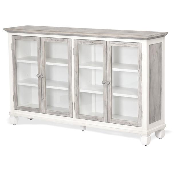 Islamorada Accent 4-Door Cabinet Table in Dapple Grey/ Blanc finish