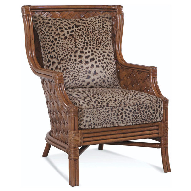 Abella Wicker Wing Chair in fabric '0808-71 D' and Havana finish