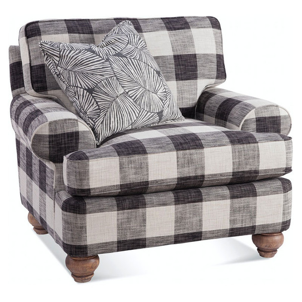 """Artisan Landing Chair in fabric """"0120-81 H' with pillow fabric """"0526-66 D"""" and Sun Weathered finish"""