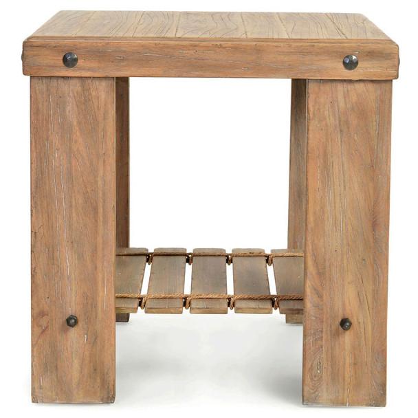Artisan Landing Wood End Table in Sun Weathered finish