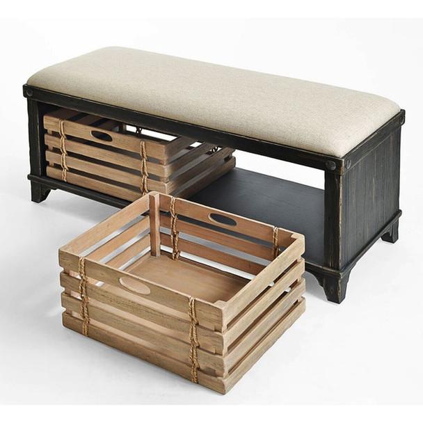 Artisan Landing Storage Bench in Moonlight Black finish