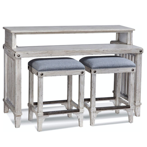Artisan Landing Sofa Table / Bar with Stools in Hatteras finish