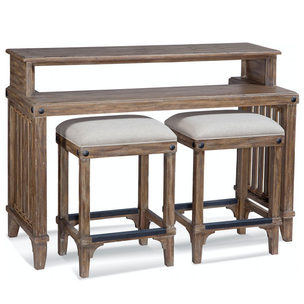 Artisan Landing Sofa Table / Bar with Stools in Sun Weathered finish