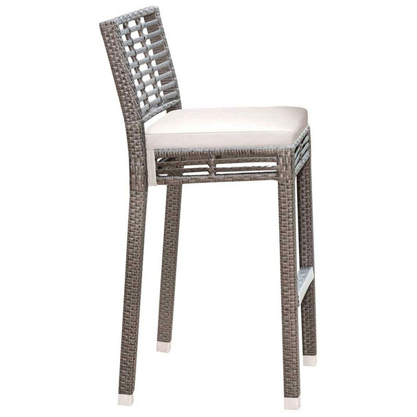 Graphite Outdoor Stackable Barstool with an off-white outdoor polyester cushion