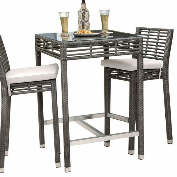 Graphite Outdoor Square Pub Table with Glass