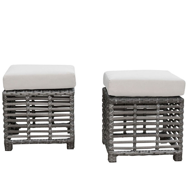 Graphite Outdoor Set of 2 Small Ottomans
