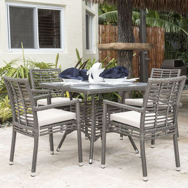 Graphite Outdoor 5 piece Dining Set with Stackable Arm Chairs