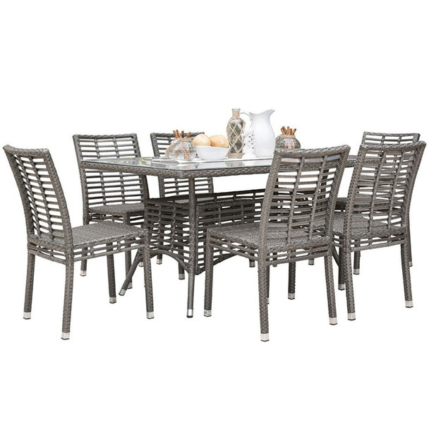 Graphite Outdoor 7 piece Dining Set with Stackable Side Chairs