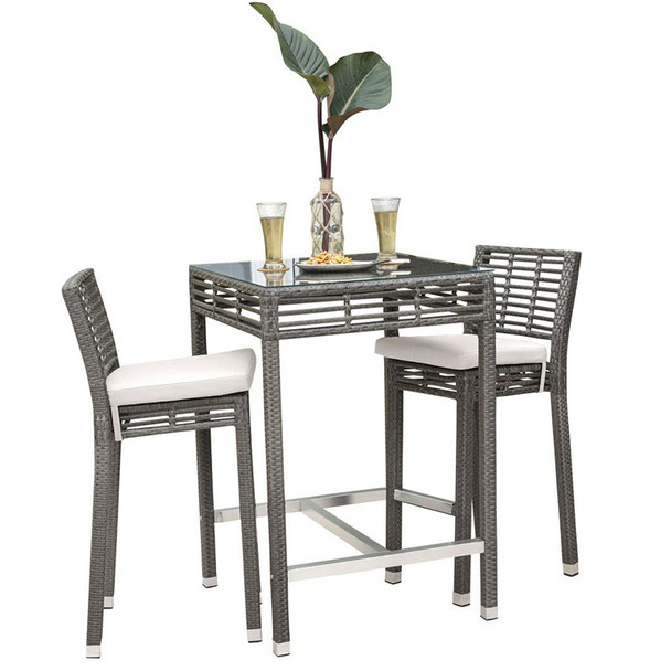 Graphite Outdoor 3 piece Pub Set with cushions