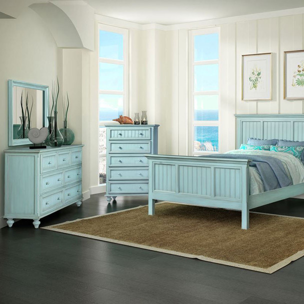 Monaco Bedroom collection in the distressed Bleu finish