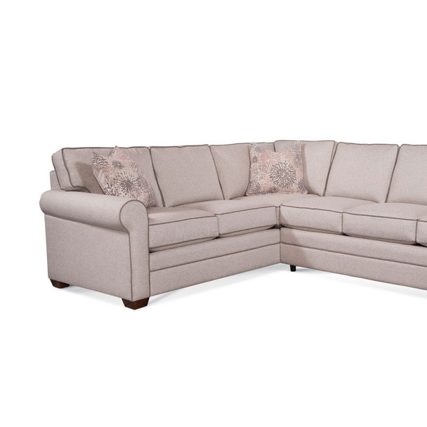 Bedford LSF Corner Sofa in fabric 851-73 A with contrast welt 851-84 A and pillow fabric 701-14 G and Havana finish