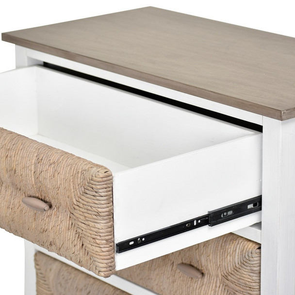 Drawers are constructed of solid wood and use full extension ball bearing drawer glides