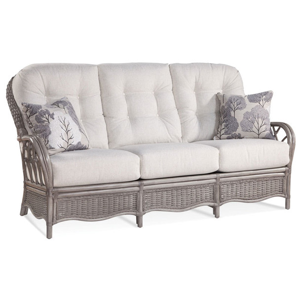 Everglade Sofa in fabric '0851-93 A'  with pillow fabric '0412-85 H and Driftwood finish