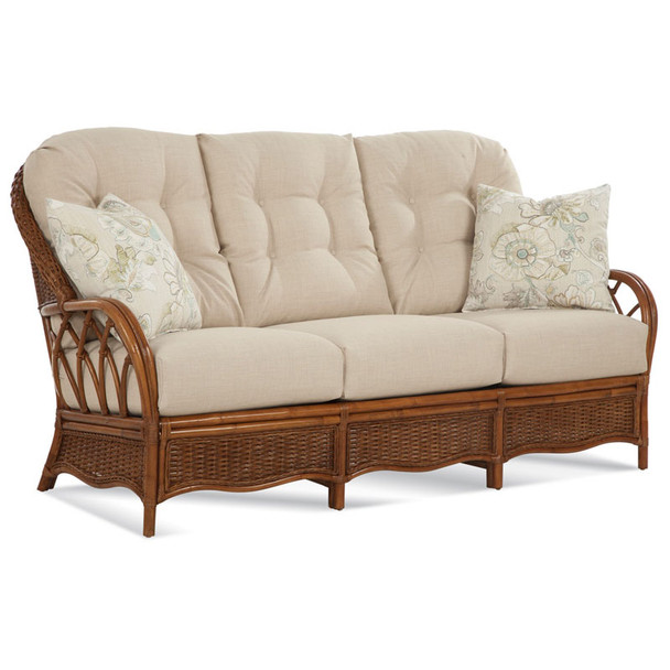 Everglade Sofa in fabric '0376-95 C' and pillow fabric '0549-96 D' and Havana finish