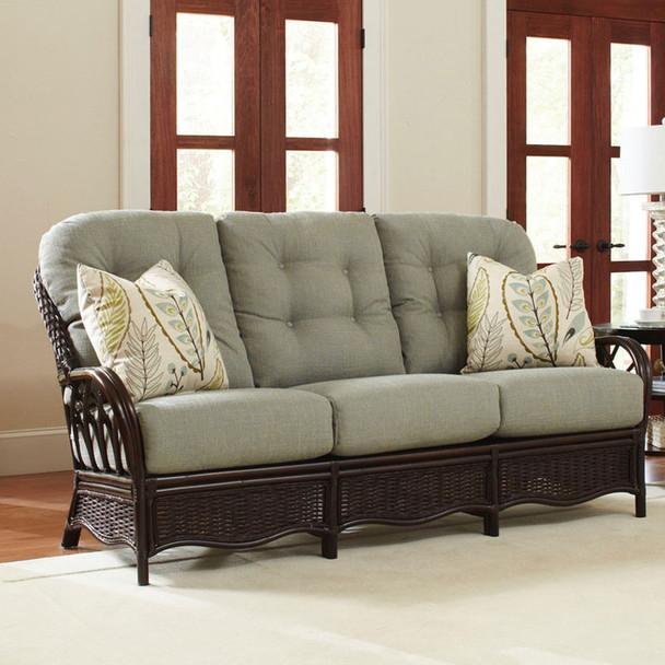 Everglade Sofa in pillow fabric '0590-56 E' and Java finish