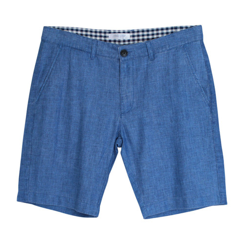 Men's Regular Fit Cotton and Linen Blend Shorts