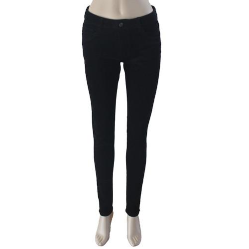 Corduroy Pants for Women Mid Rise Skinny Black