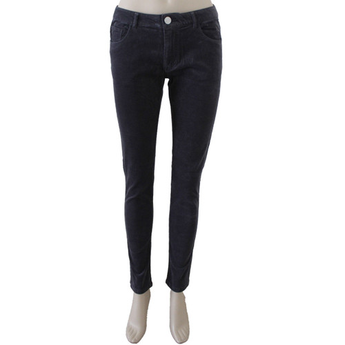 Corduroy Pants for Women Mid Rise Skinny Dark Grey