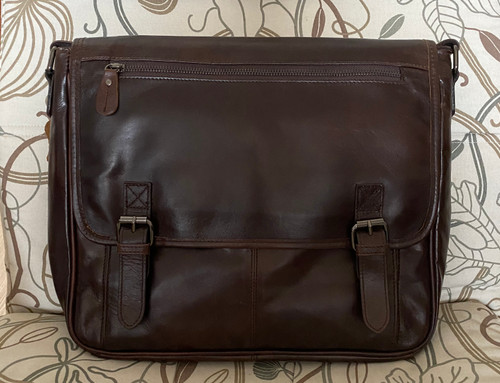 Men's Messenger Bag Shoulder Bag Genuine Leather Dark Brown