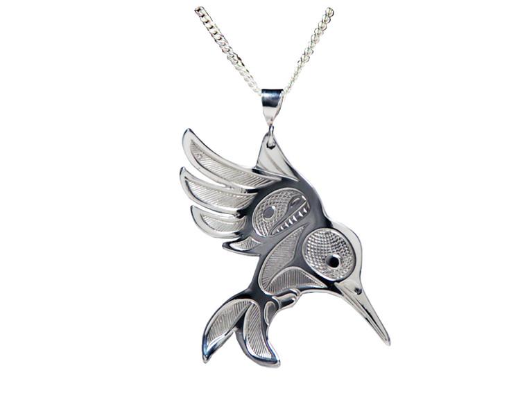 Silver Pewter Hummingbird in Flight Pendant