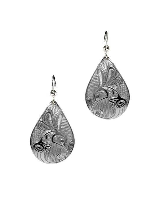 Silver Pewter Hummingbird Teardrop Earrings