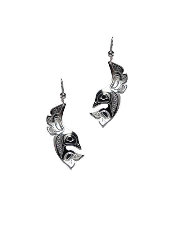 Silver Pewter Lovebird Earrings