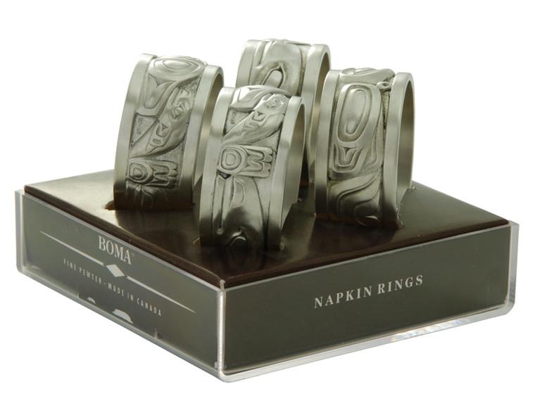 Native Pewter Napkin Ring Set of 4