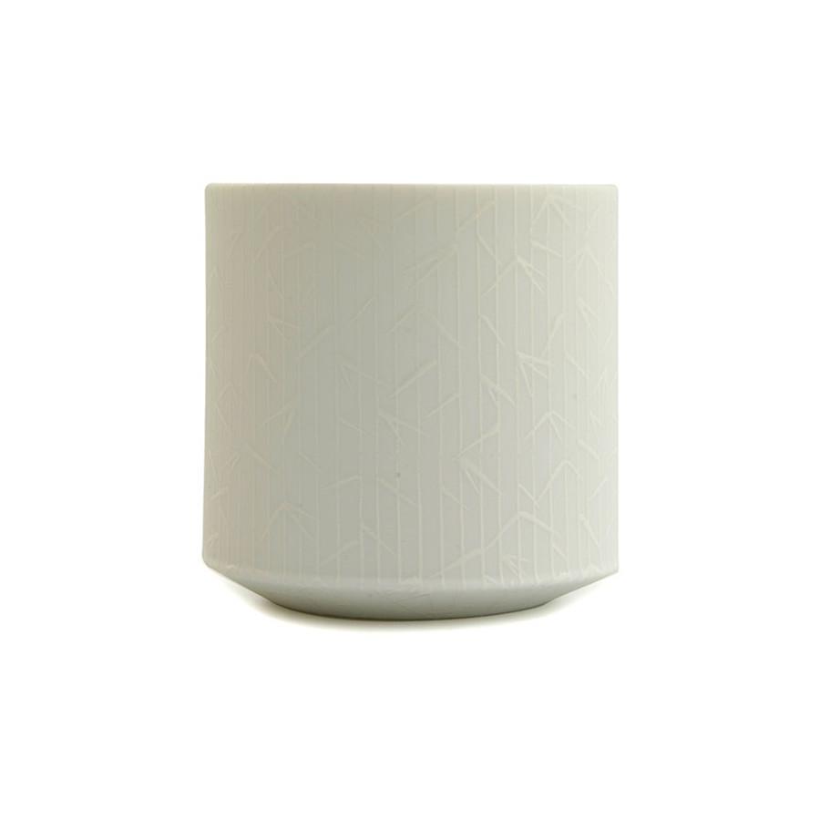 Tasse à thé japonaise motif Bambou Blanc vue de côté