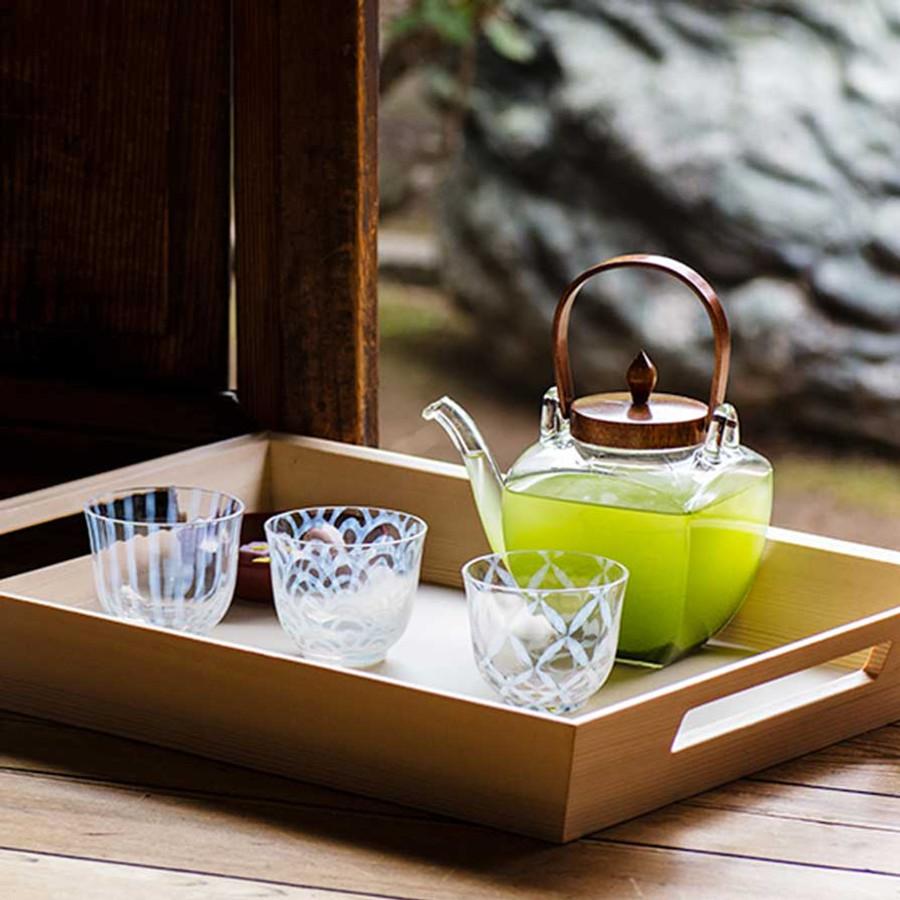 Théière japonaise avec couvercle en bois Hirota Glass