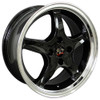 """17"""" Fits Ford® Mustang® Cobra R 4 Lug Wheels Black with a Fine Machined Lip Set of 4 17x8"""" Rims"""