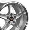 "17'' Fits Ford®  Mustang® Cobra R 5 Lug Wheels Silver Machined 17x10.5"" Rims"