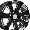 "20"" GMC Denali Style Wheels Yukon Sierra Cadillac Fits Chevrolet Escalade Chevy Tahoe Silverado Satin Black with Chrome Inserts Set of 4 20x8.5"" Rims"
