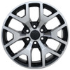 "20"" Chevy 1500 Silverado Wheels & Tires GMC Sierra Rims Black Machine Face Set of 4 20x9"" Rims"