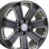 "20"" GMC Denali Style Wheels Yukon Sierra Cadillac Fits Chevrolet Escalade Chevy Tahoe Silverado Gunmetal with Chrome Inserts Set of 4 20x8.5"" Rims"