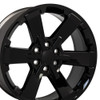 "22"" Fits Chevy 1500 Midnight Wheels Gloss Black Rally GMC Yukon Denali CK162 Set of 4 22x9"" Rims"