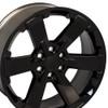 "22"" Fits Chevy 1500 Midnight Wheel Gloss Black Rally GMC Yukon Denali CK162 22x9"" Rim"