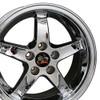 """17"""" Fits Mustang® Cobra R Deep Dish 5 Lug Wheel Chrome 17x9"""" Rim"""