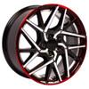 "18"" Fits Honda Civic Hatchback style Accord CR-Z Prelude Acura Undercut  Gunmetal Mach'd w/Red Gradient  Wheels Set of 4 18x8"" Rims"